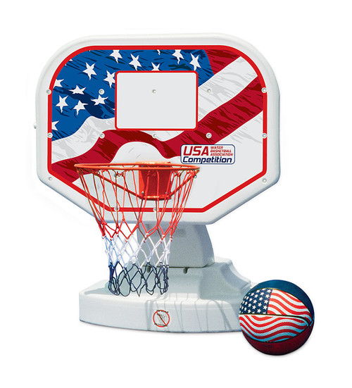 """45"""" Red and Blue USA Poolside Competition Swimming Pool Basketball Game - IMAGE 1"""