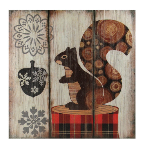 """13.75"""" Alpine Chic Squirrel with Acorn and Snowflakes Wall Art Plaque - IMAGE 1"""