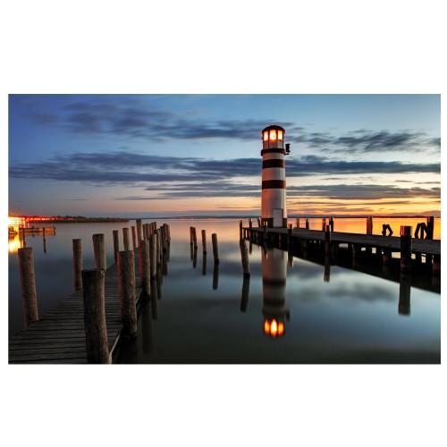 """LED Lighted Coastal Sunset Lighthouse Scene Canvas Wall Art 15.75"""" x 23.5"""" - IMAGE 1"""