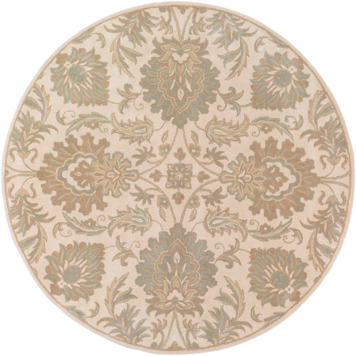 8' Taupe Gray Hand Tufted Round Wool Area Throw Rug - IMAGE 1