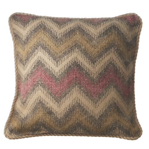"""18"""" Taupe and Red Chevron Square Throw Pillow with Twisted Trim - IMAGE 1"""