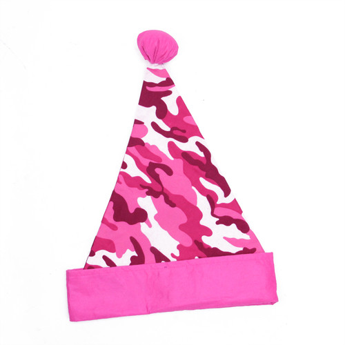 "16"" Pink and White Camouflage Christmas Santa Unisex Adult Hat Costume Accessory - One Size - IMAGE 1"