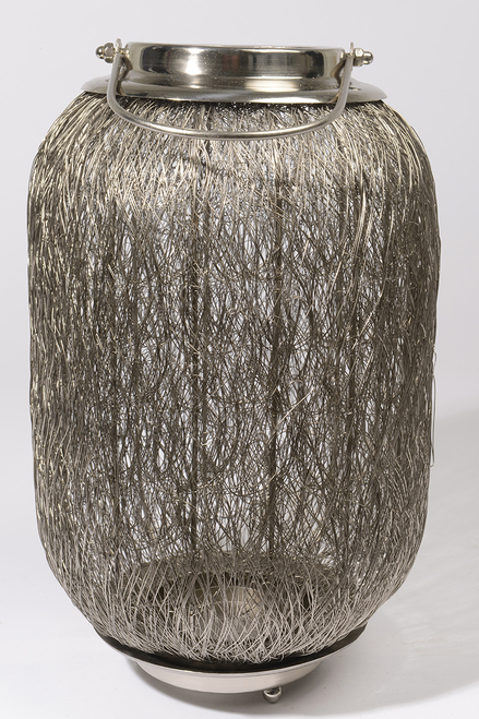 """27.25"""" Beach Day Contemporary Chic Extra Large Wire Woven Hurricane Pillar Candle Holder - IMAGE 1"""