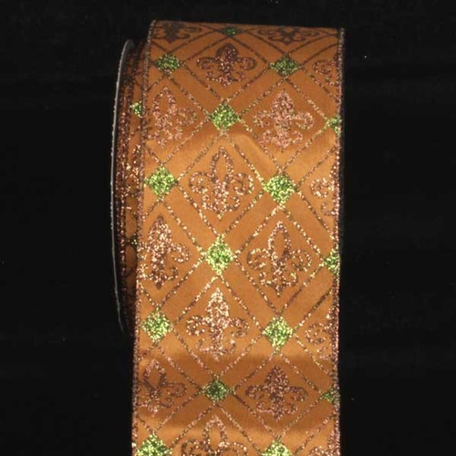 """Brown and Green Fleur De Lis Diamond Printed Wired Craft Ribbon 3"""" x 20 Yards - IMAGE 1"""
