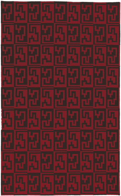 2.5' x 8' Egyptian Key Red and Black Hand Woven Rectangular Wool Area Throw Rug Runner - IMAGE 1