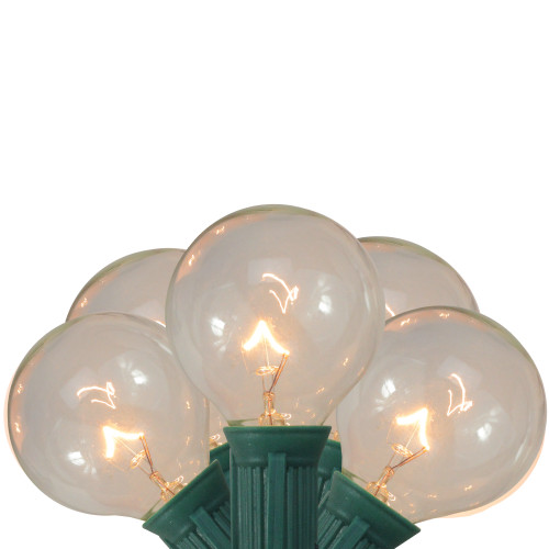 20-Count Clear Transparent Globe Patio G50 Christmas Light Set, 19ft Green Wire - IMAGE 1