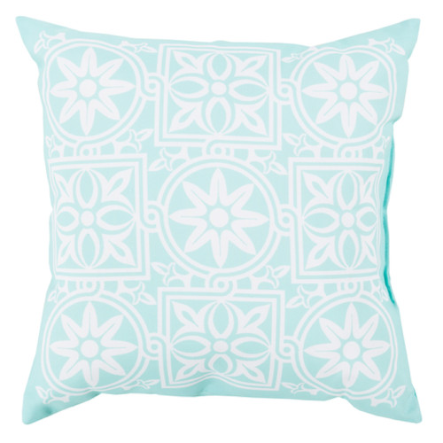 """18"""" Turquoise Blue and Ivory Contemporary Floral Square Throw Pillow Cover - IMAGE 1"""