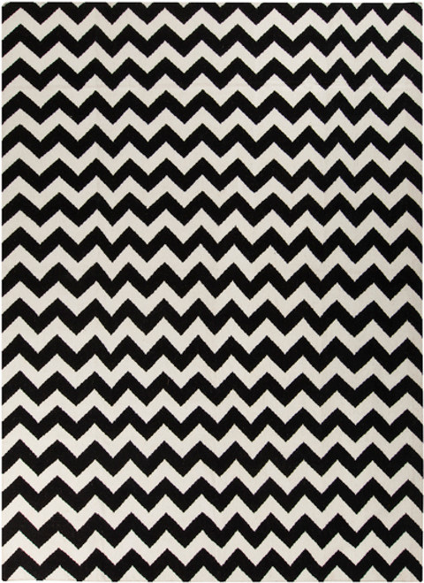 9' x 13' Zany ZigZag Black and Snow White Hand Woven Rectangular Wool Area Throw Rug - IMAGE 1