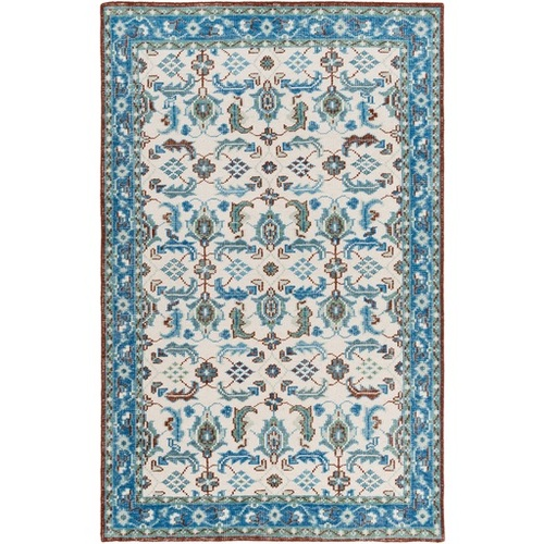 3.5' x 5.5' Ivory and Aqua Blue Hand Knotted Rectangular Wool Area Throw Rug - IMAGE 1