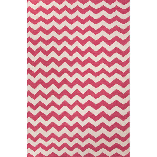 5' x 8' Strawberry Pink and Daisy White Lola Flat Weave Wool Area Throw Rug - IMAGE 1