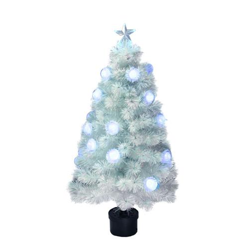 4' Pre-Lit Medium White Iridescent Fiber Optic Artificial Christmas Tree - Blue LED Lights - IMAGE 1