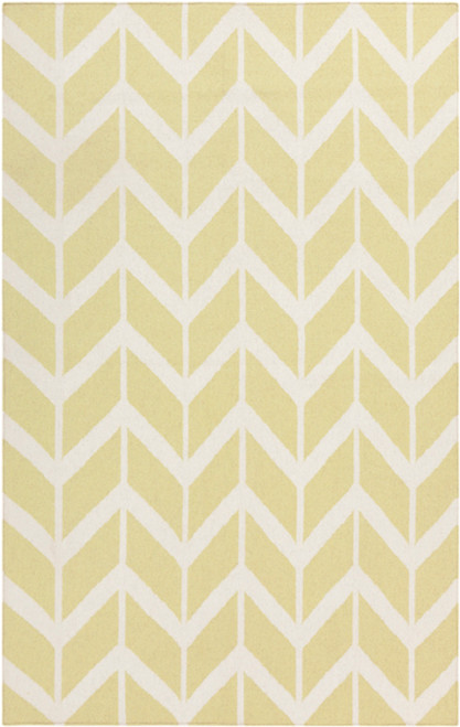 3.5' x 5.5' Chevron Pathway Lime Green and White Hand Woven Rectangular Wool Area Throw Rug - IMAGE 1
