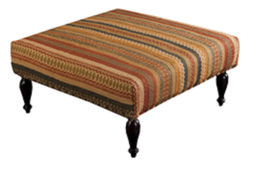 "32"" Burnt Orange, Olive and Tan Upholstered Wool and Wooden Foot Stool Ottoman - IMAGE 1"