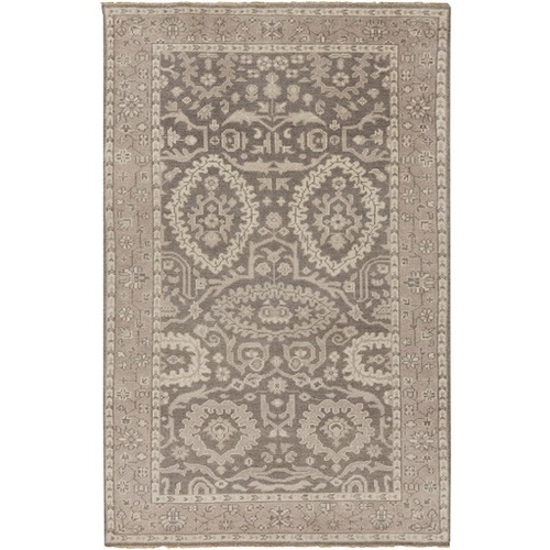 3.5' x 5.5' Traditional Brown and Gray Hand Knotted Wool Area Throw Rug - IMAGE 1