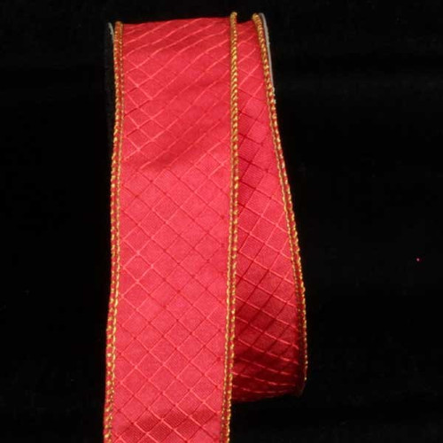 """Red and Gold Piazza Printed Wired Craft Ribbon 1.5"""" x 80 Yards - IMAGE 1"""