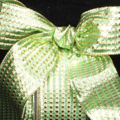 """Green and Gold Woven Stripes Wired Craft Ribbon 1.5"""" x 54 Yards - IMAGE 1"""