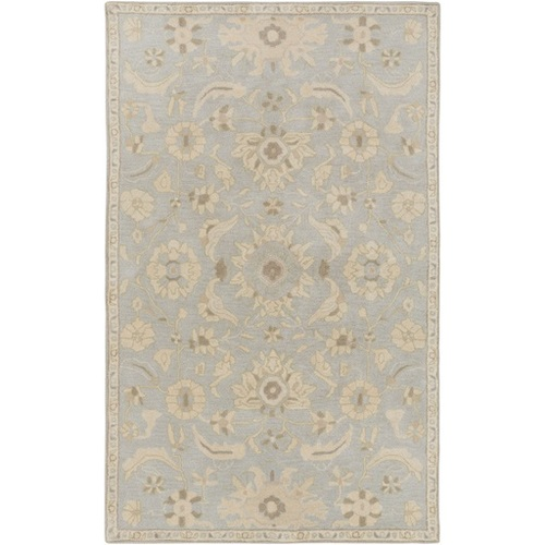 7.5' X 9.5' Floral Gray and Tan Brown Hand Tufted Rectangular Wool Area Throw Rug - IMAGE 1