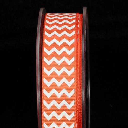"Orange and White Chevron Grosgrain Craft Ribbon 0.75"" x 120 Yards - IMAGE 1"