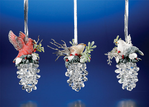 """Club Pack of 12 Clear Icy Crystal Christmas Birds on Pinecones Ornaments 3.5"""" - IMAGE 1"""