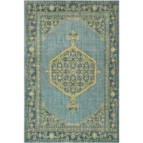 8' x 11' Blue and Olive Green Rectangular Hand Knotted Wool Area Throw Rug - IMAGE 1