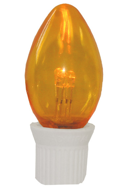 Pack 25 Commercial Transparent Orange 3-LED C7 Replacement Christmas Light Bulbs - IMAGE 1