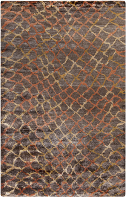 8' x 11' Orange Contemporary Hand-Knotted Area Throw Rug - IMAGE 1
