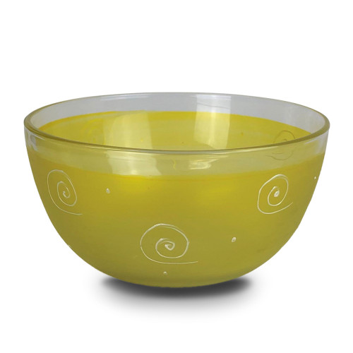 """Set of 2 Yellow Curls and Dots Hand Painted Glass Serving Bowls 6"""" - IMAGE 1"""