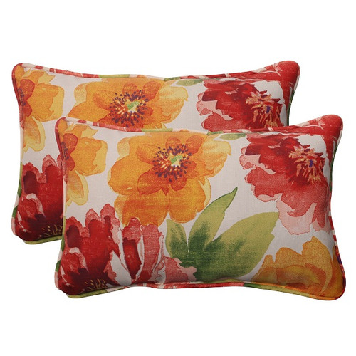 "Set of 2 White and Red Floral Outdoor Patio Corded Rectangular Throw Pillows 18.5"" - IMAGE 1"