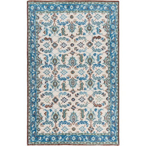 5.5' x 8.5' Ivory and Aqua Blue Hand Knotted Rectangular Wool Area Throw Rug - IMAGE 1
