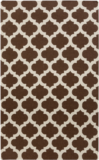 5' x 8' Chocolate Brown and Beige Abstract Hand Woven Rectangular Area Throw Rug - IMAGE 1