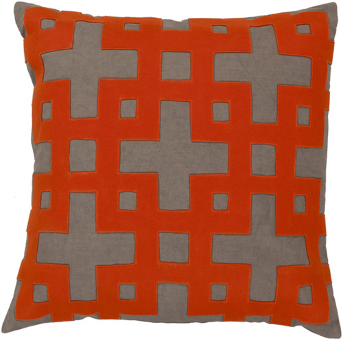 """22"""" Spicy Orange and Gray Contemporary Square Throw Pillow - IMAGE 1"""