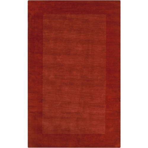 5' x 8' Solid Burnt Orange Hand Loomed Rectangular Wool Area Throw Rug - IMAGE 1