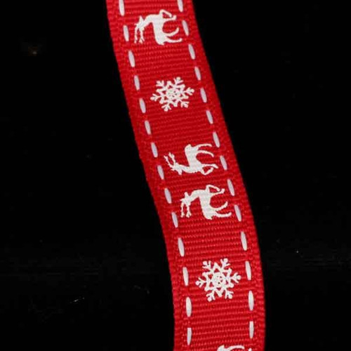 """Red and White Reindeer Wired Craft Ribbon 0.5"""" x 54 Yards - IMAGE 1"""