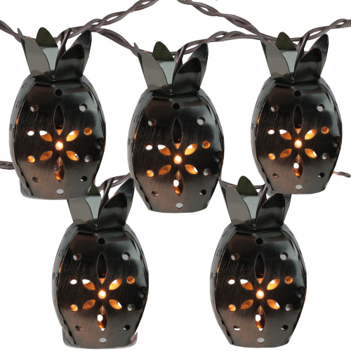 10 Pineapple Novelty Christmas Lights - 7.5 ft Brown Wire - IMAGE 1