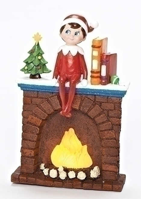 "6.75"" Brown and Red Elf on Fireplace Christmas Tabletop Decoration - LED Lights - IMAGE 1"