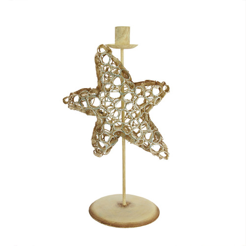"""12.75"""" Beach Inspired Brown and Blue Burlap Star Fish Taper Candle Holder - IMAGE 1"""