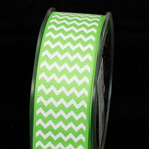 "Green and White Chevron Grosgrain Craft Ribbon 1.5"" x 120 Yards - IMAGE 1"