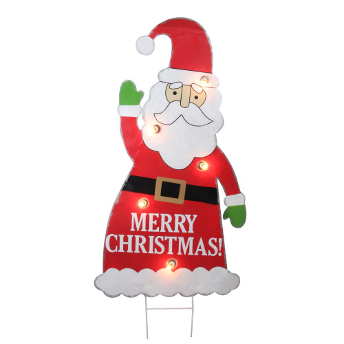 3' Red and White Lighted Santa Claus Merry Christmas Outdoor Decoration - IMAGE 1