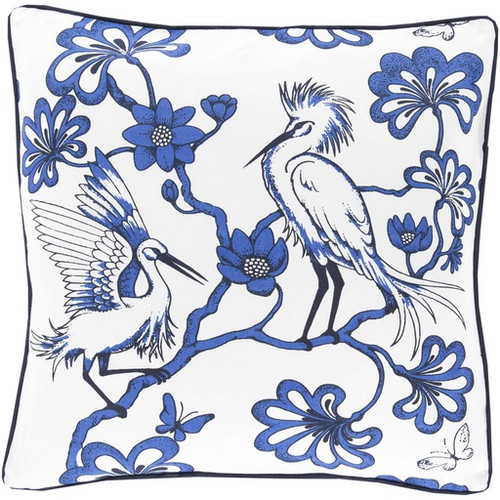 """20"""" White and Blue Printed Square Throw Pillow - IMAGE 1"""