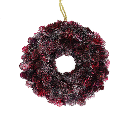 Burgundy Red Glitter Pine Cone Artificial Christmas Wreath - 9-Inch, Unlit - IMAGE 1