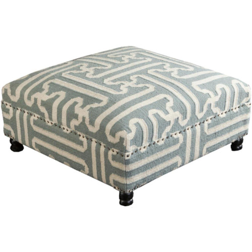 """32"""" Misty Blue and Ivory Upholstered Wool and Wooden Foot Stool Ottoman - IMAGE 1"""