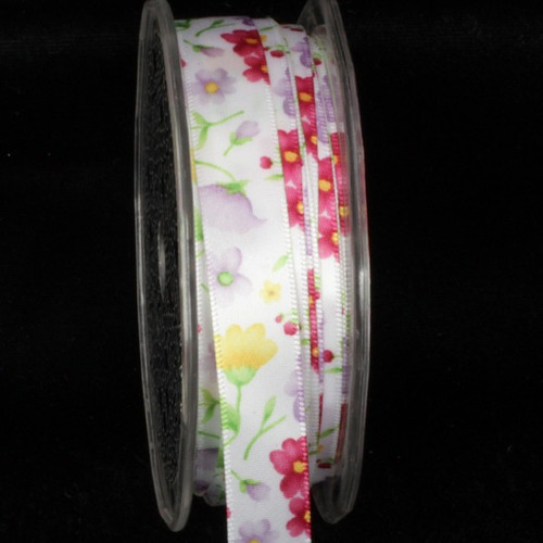 """White and Yellow Summer Flowers Wired Craft Ribbon 0.5"""" x 54 Yards - IMAGE 1"""