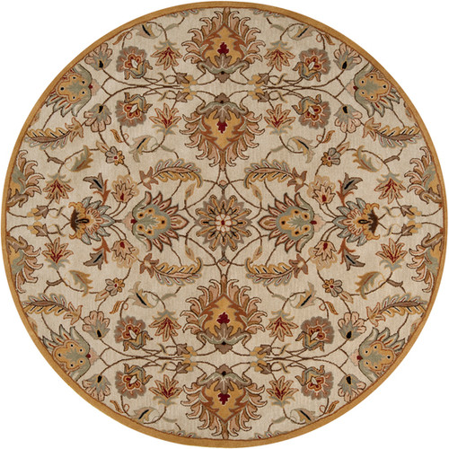 8' Taupe Brown and Gray Hand Tufted Wool Area Throw Rug - IMAGE 1