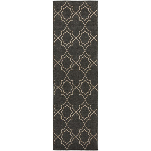 2.25' x 7.75' Black and Brown Contemporary Rectangular Area Throw Rug Runner - IMAGE 1