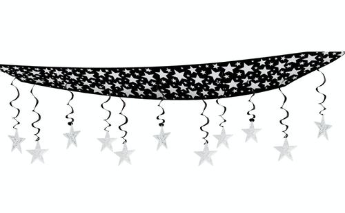 Pack of 6 Black and Silver Hollywood Party Stars Hanging Ceiling Decors 12' - IMAGE 1