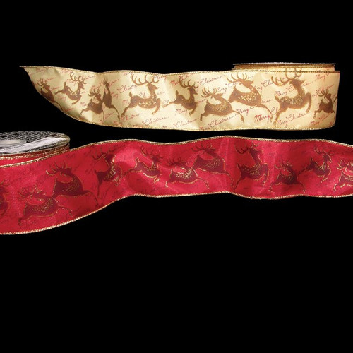 """Red and Gold Rudolf Wired Craft Ribbons 2.5"""" x 40 Yards - IMAGE 1"""
