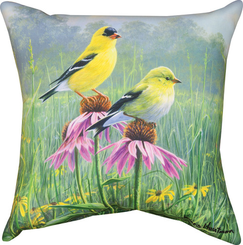 """18"""" Yellow and Green Finch Outdoor Patio Square Throw Pillow - IMAGE 1"""