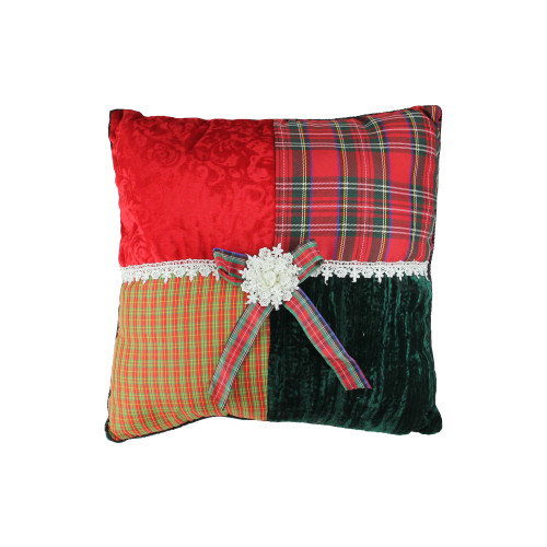 """15.5"""" Red and Green Plaid Square Christmas Throw Pillow - IMAGE 1"""