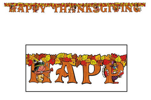 """Club Pack of 12 """"Happy Thanksgiving"""" Jointed Party Streamer Banners 72"""" - IMAGE 1"""