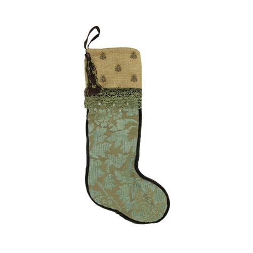 "28"" Sage Green and Tortilla Brown Embroidered Patina Jacquard Christmas Stocking - IMAGE 1"